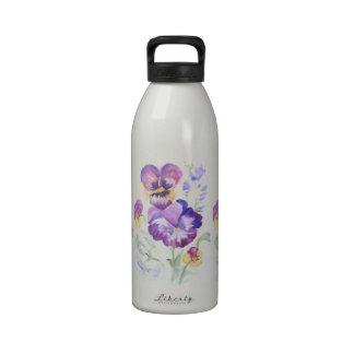 Watercolor pansies drinking bottles