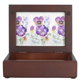 Watercolor pansies keepsake box