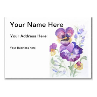 Watercolor pansies large business card