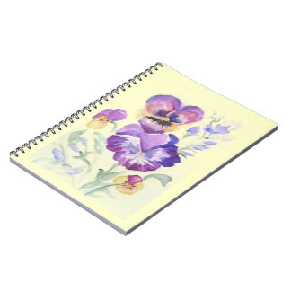 Watercolor pansies notebook