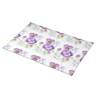 Watercolor pansies placemats