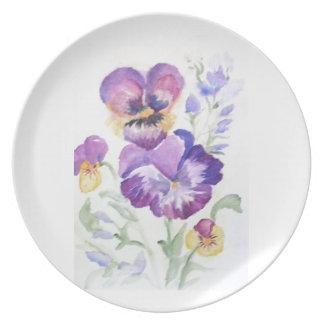 Watercolor pansies plates
