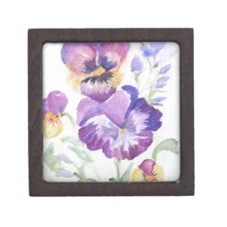 Watercolor pansies premium jewelry box