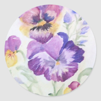 Watercolor pansies classic round sticker