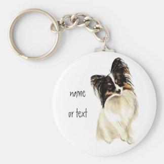 Watercolor Papillon Dog, Pet Key Chain
