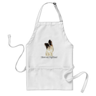 Watercolor Papillon Dog, Pet Love my Adult Apron