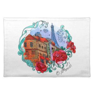Watercolor Paris Cloth Placemat