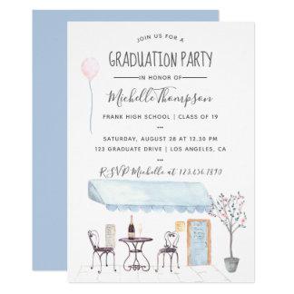 Watercolor Paris Graduation invitation