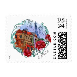 Watercolor Paris illustration Postage Stamp