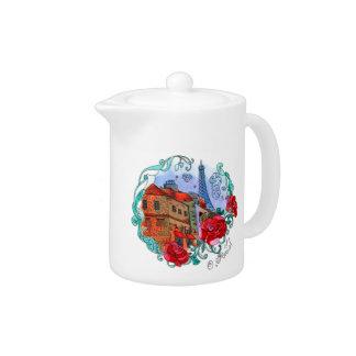 Watercolor Paris Teapot