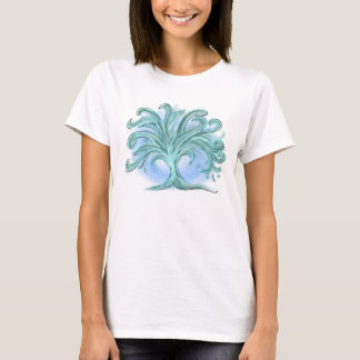 Watercolor pastel abstract tree green blue swirl T-Shirt