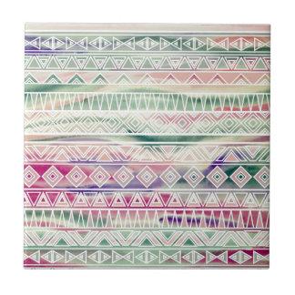 Watercolor Pastel Aztec Inspired Pattern Ceramic Tile