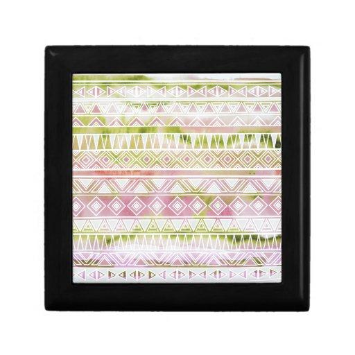 Watercolor Pastel Aztec Inspired Pattern Trinket Boxes