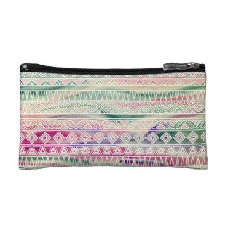 Watercolor Pastel Aztec Inspired Pattern Makeup Bag