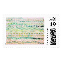Watercolor Pastel Aztec Inspired Pattern Postage