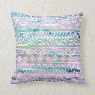 Watercolor Pastel Aztec Inspired Pattern Throw Pillow