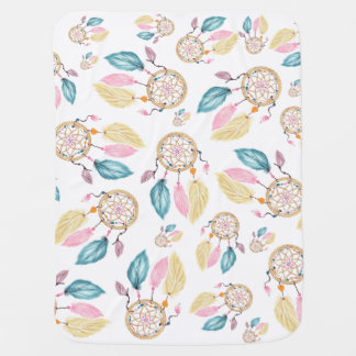 Watercolor pastel boho dreamcatcher pattern baby blanket