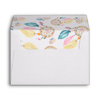 Watercolor pastel boho dreamcatcher pattern envelope