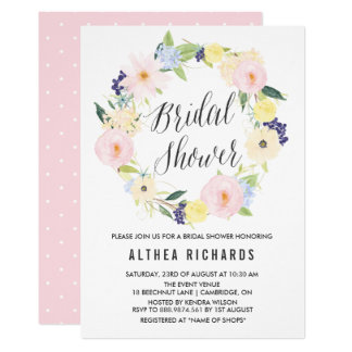 Watercolor Pastel Floral Wreath Bridal Shower Card