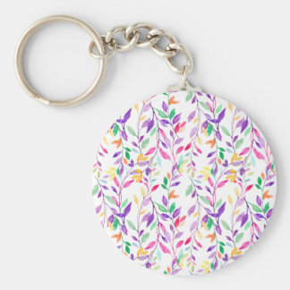 Watercolor pastel leaf pattern keychain