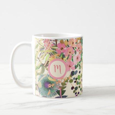 Watercolor Pastel Mixed Floral Monogram Coffee Mug