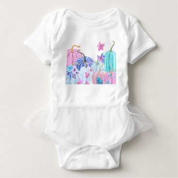 Halloween Themed Watercolor Pastel pumpkin and floral frame Baby Bodysuit