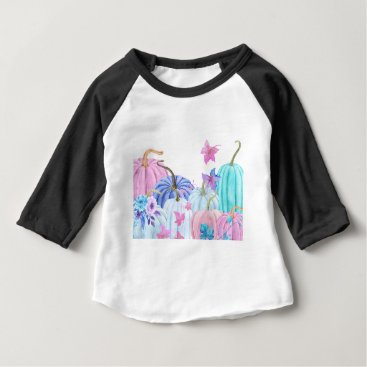 Halloween Themed Watercolor Pastel pumpkin and floral frame Baby T-Shirt
