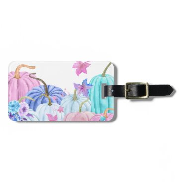 Halloween Themed Watercolor Pastel pumpkin and floral frame Bag Tag