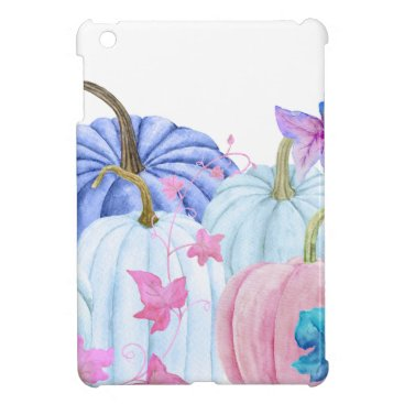 Halloween Themed Watercolor pastel pumpkin and floral frame iPad mini cases