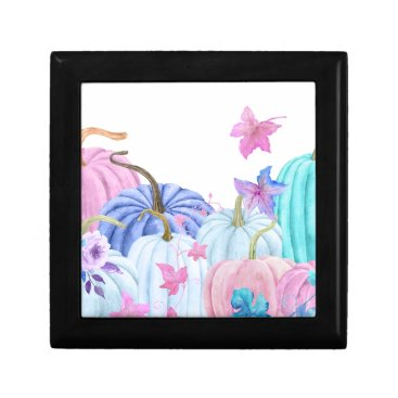 Halloween Themed Watercolor Pastel pumpkin and floral frame Jewelry Box