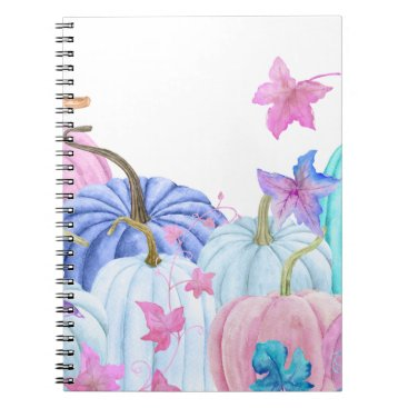 Halloween Themed Watercolor Pastel pumpkin and floral frame Notebook