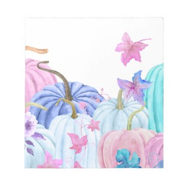 Halloween Themed Watercolor Pastel pumpkin and floral frame Notepad
