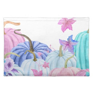 Halloween Themed Watercolor Pastel pumpkin and floral frame Placemat