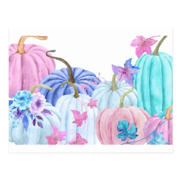 Halloween Themed Watercolor pastel pumpkin and floral frame postcard