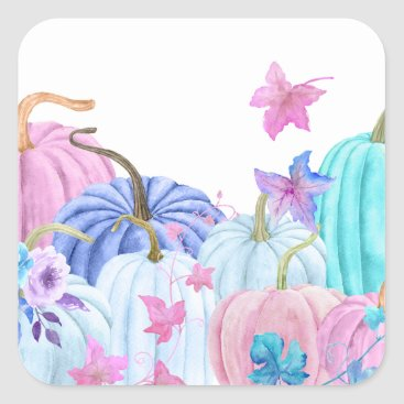 Halloween Themed Watercolor Pastel pumpkin and floral frame Square Sticker