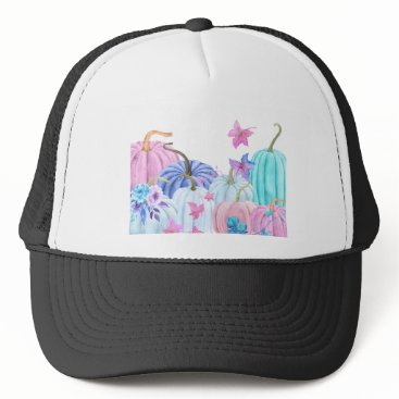 Halloween Themed Watercolor Pastel pumpkin and floral frame Trucker Hat