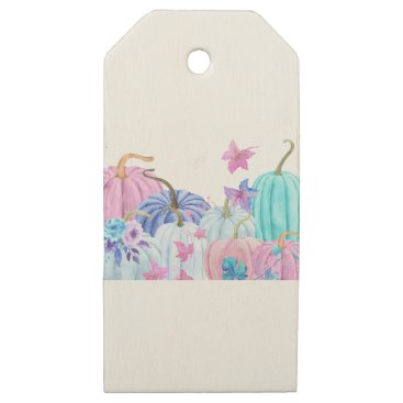 Halloween Themed Watercolor Pastel pumpkin and floral frame Wooden Gift Tags