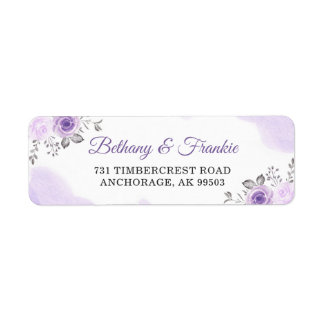 Watercolor Pastel Purple Floral Wedding Address Label
