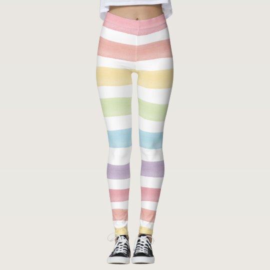 26932d88cfa1 Watercolor Pastel Rainbow Stripes Cute Gym Pants | Zazzle.com