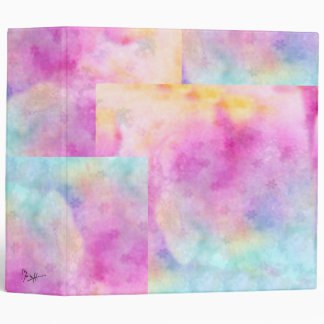 Watercolor Patches - Pink Blue Yellow 3 Ring Binder
