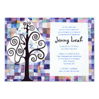 WATERCOLOR PATCHWORK TREE Bat Mitzvah Invitation