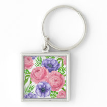 Watercolor pattern with peony and anemone flowers keychain