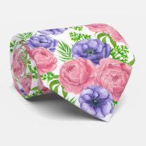 Watercolor pattern with peony and anemone flowers neck tie