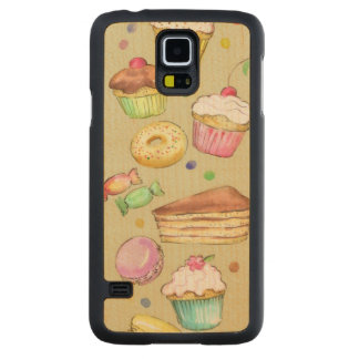 Watercolor pattern with sweets carved® maple galaxy s5 slim case