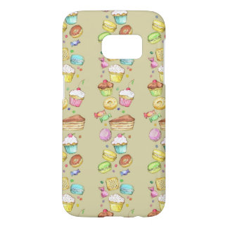 Watercolor pattern with sweets samsung galaxy s7 case