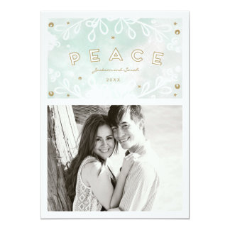 Watercolor Peace Holiday Photo Card