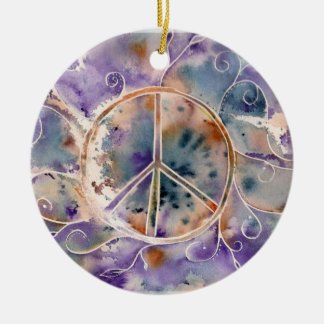 Watercolor Peace Double-Sided Ceramic Round Christmas Ornament