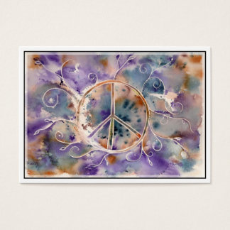 Watercolor Peace Sign Business Card