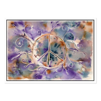 Watercolor Peace Sign Business Card Templates
