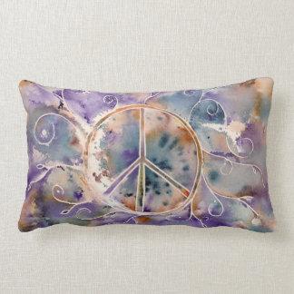 Watercolor Peace Sign Lumbar Pillow